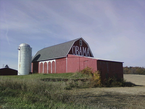 A barn with OBAMA written on it